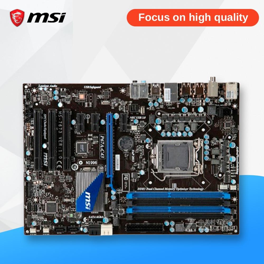 MSI P67A-C43 Original Used Desktop Motherboard P67 Socket LGA 1155 i3 i5 i7 DDR3 32G SATA3 USB3.0 ATX msi h77ma g43 original used desktop motherboard h77 socket lga 1155 i3 i5 i7 ddr3 32g sata3 micro atx