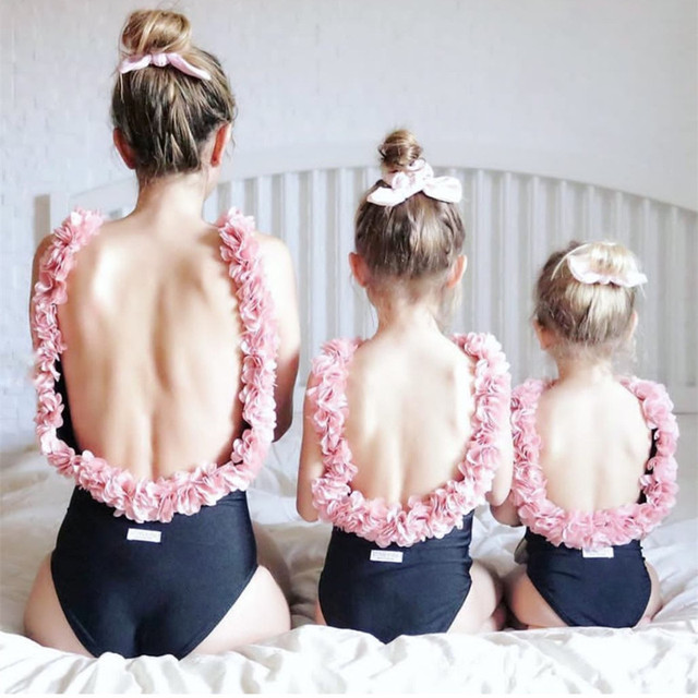 Imayio Children flower Swimsuits  Baby Girls One-piece Swimsuit  3D Floral Open Back Bathing Suit  for Mother-daughter swimsuit
