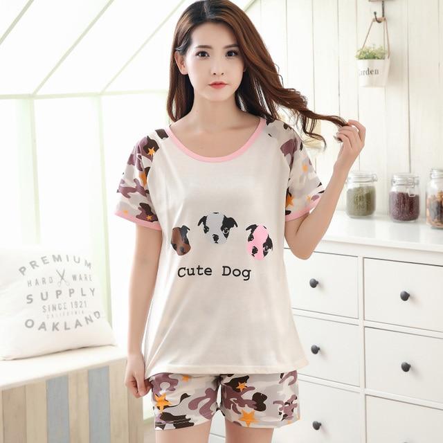 847500e7b5 Nuevo verano de manga corta pijamas de algodón para las mujeres dulce Niñas  Conjuntos de pijama