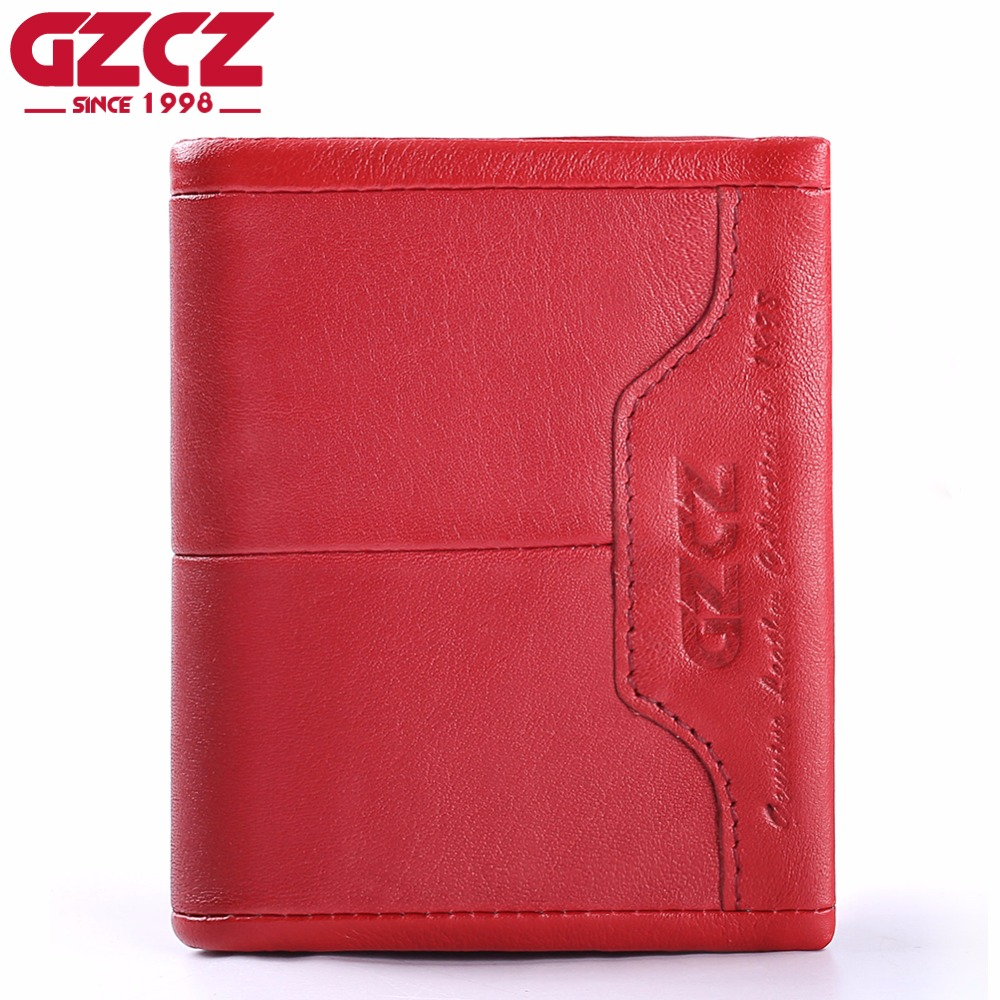 GZCZ Womens Genuine Leather Wallets Zipper Small Walet Woman Card Holder Luxury Brand Ladies Vallet Cowhide Clutch For Girls