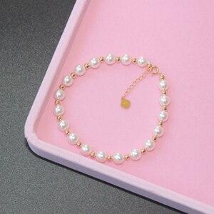 Image 2 - Sinya Reine echte 18K gold perlen und Natürliche perlen stränge Fußkettchen armbänder halsband halskette länge 16cm 45cm optional Heißer verkauf