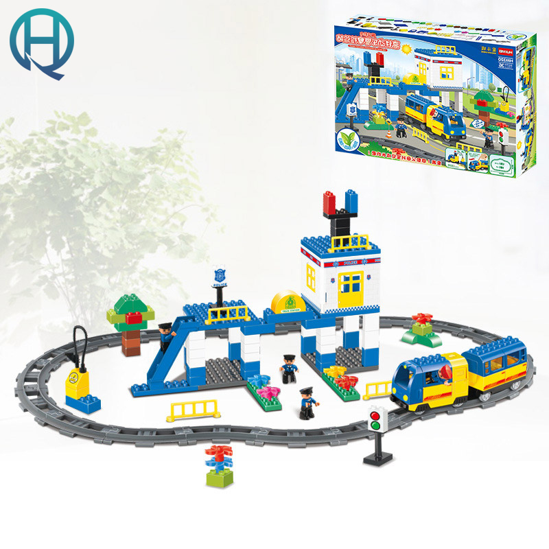 HuiMei City Rail Car DIY Model Big Building Blocks Bricks Baby Early Educational Learning Gift Toys for Kids Children 256pcs plastic educational building blocks toys baby intelligence sticks diy baby montessori early learning gift block toys