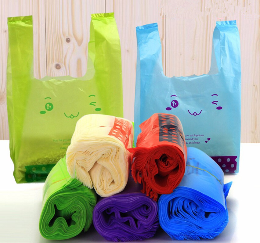 Supermarket Lovely Smile Vest Plastic Merchandise Bags Grocery Carrier Shopping Hand Bag with Handle for Gift Packaging