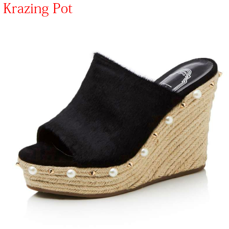 2018 Fashion Horsehair Women Sandals Super High Heel Rivet Platform Peep Toe Solid High Quality Increased Wedge Summer Shoes L842018 Fashion Horsehair Women Sandals Super High Heel Rivet Platform Peep Toe Solid High Quality Increased Wedge Summer Shoes L84