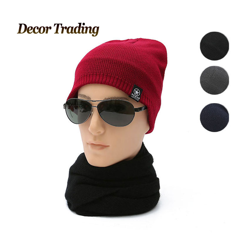 Men's Skullies Winter Knitted Hat Male Brand Beanies Cap Casual Solid Color Sets Velvet Headgear Hats For Men bonnet skullies hot sale candy sets color pointed hat knitting hat sets hat cap 1866951