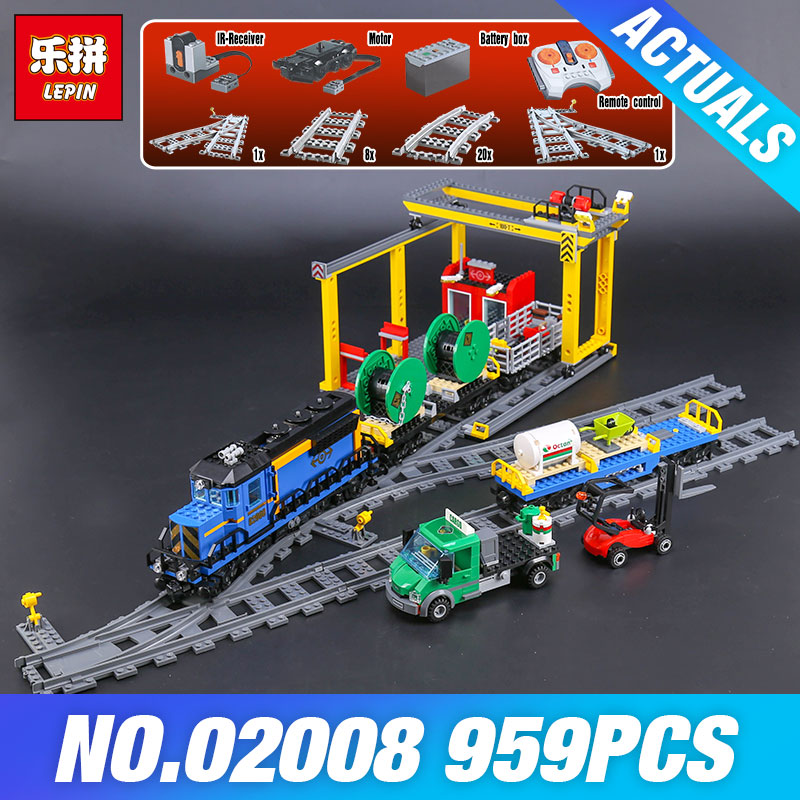 Lepin 02008 The Cargo Train Set Genuine 959Pcs City Series 60052 Building Blocks Bricks Educational Toys Children Christmas Gift black pearl building blocks kaizi ky87010 pirates of the caribbean ship self locking bricks assembling toys 1184pcs set gift