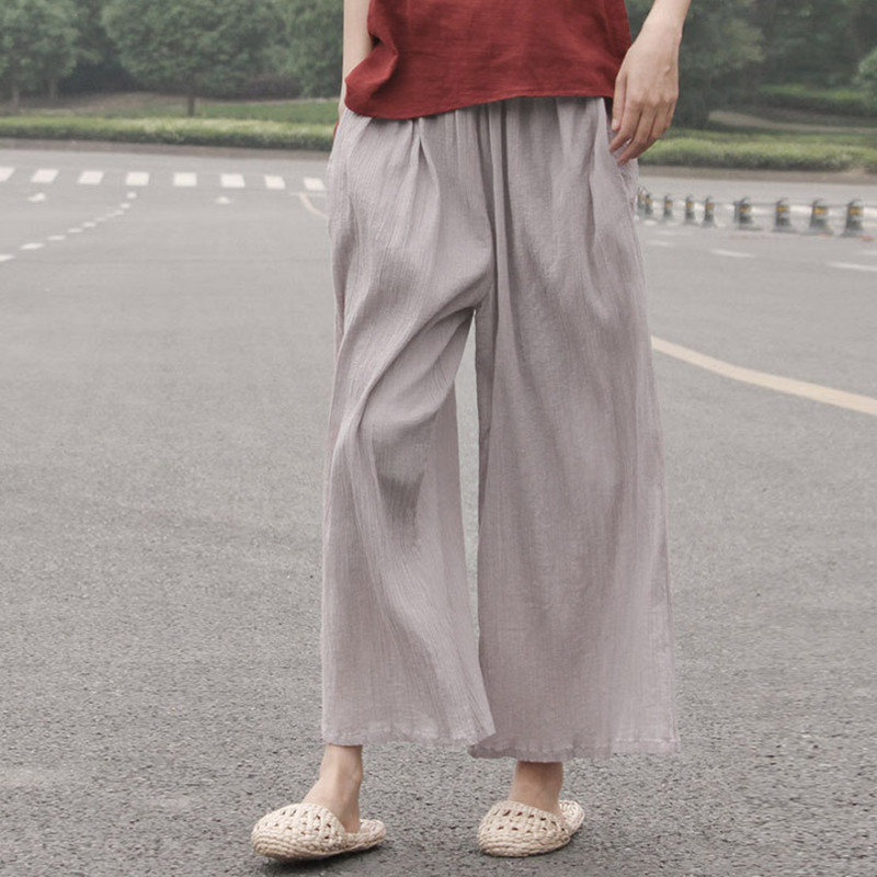Johnature 2018 Summer Cotton Linen   Pants   Elastic Mid Waist Solid Color 2018 Women New Vintage Ankle-Length   Wide     Leg     Pants