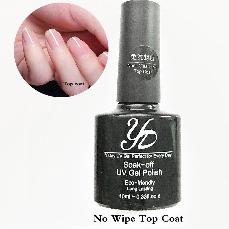 1 Bottle 10ML No Wipe UV Top Coat Nail Gel Non cleansing Topcoat ...