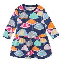 kids dresses for girls umbrella print long sleeve cotton toddler girl dresses princess costume 18 months-6 Years