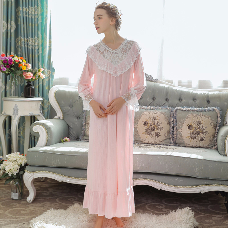 Spring Cotton Nightdress Women Lace   Nightgowns   Loose   Sleepshirts   Long Horn Sleeve Nightwear Plus Size Palace Princess Dress
