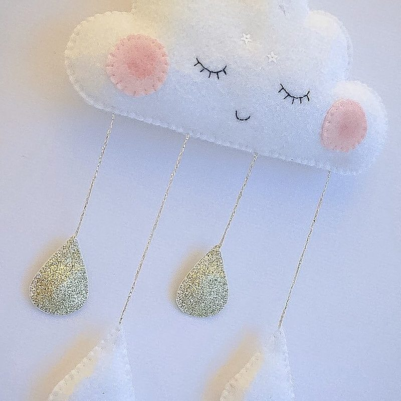 Cloud Felt Raindrops Smile Face Kids Room Tent Decoration Children Baby Shower Wall Hanging Decor
