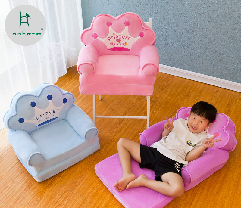 Louis Fashion Children Sofa Folding Cartoon Cute Lazy Person Lying Seat Baby Stool Kindergarten Can Be Disassembled Washed