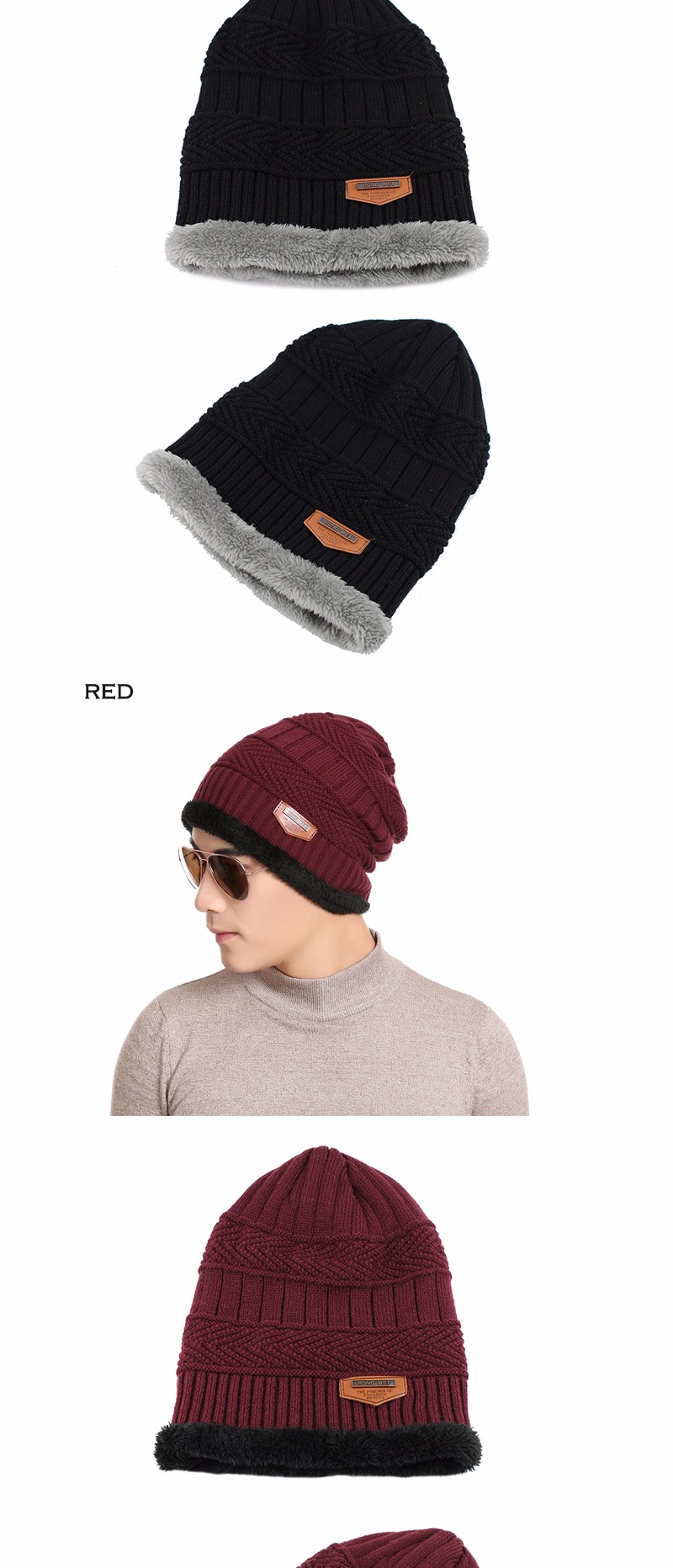 FETSBUY Pure Color Winter Skullies Beanies Hat Knit Winter Hat For Man Warm Hat Velvet Cap Bonnet Toucas Inverno Knitted Hats 56