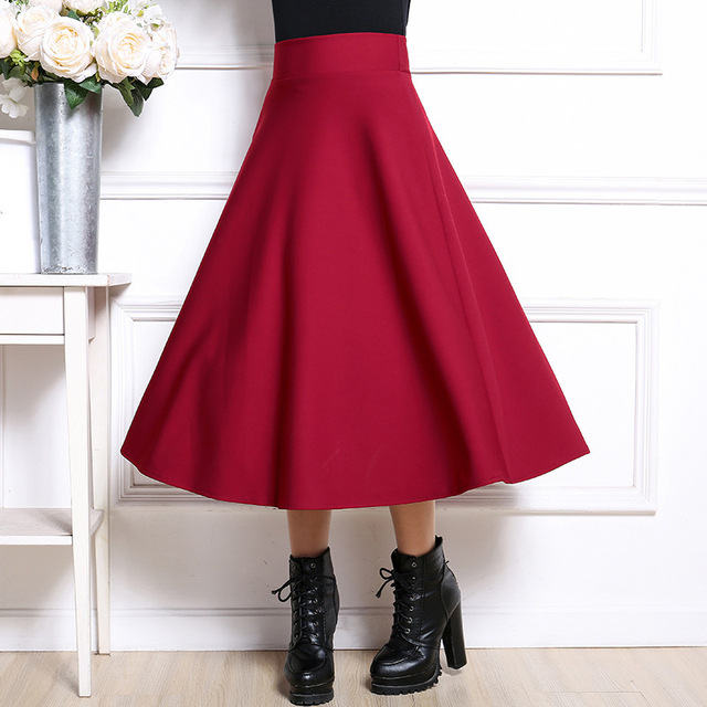 Autumn and winter new high waist women skirts large skirt large size elastic stretch umbrella skirt