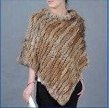 2016 New Real Knitted Rabbit Fur Shawl Genuine Rabbit Fur Poncho Women Fur Cappa Hot Sale
