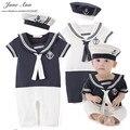 Мальчик обмундирование хлопка матрос флот стиль шляпа и ползунки с коротким рукавом 2 цвета комбинезон детские летние праздник день рождения одежда