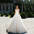 A Line Wedding Dress 2017 Lace Trouwjurk  Elegant Tulle Bridal Dress Sexy Backless Boat Neck Vestido De Noiva Robe De Mariage