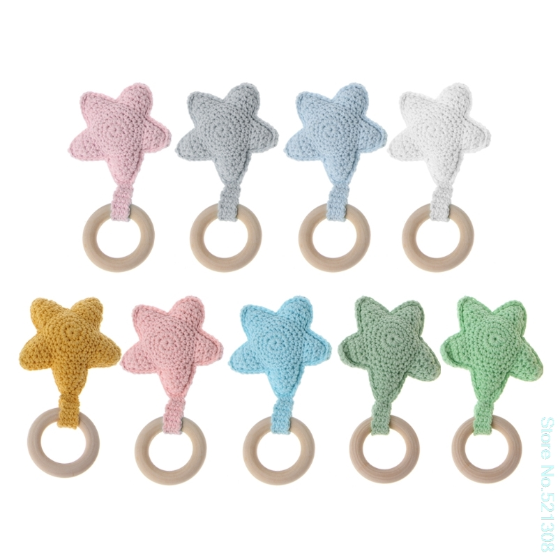 Teether Star Baby Teething Ring Chewie Teether Safety Wooden Natural Star Sensor