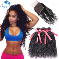 Sapphire Kinky Curly Remy Human Hair 3 Bundles With Lace Closure Natural Color For Hair Salon