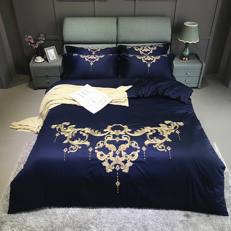 Luxury 60s Egyptian Cotton Gold Royal Embroidery Bedding