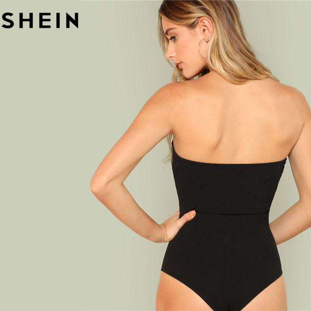 SHEIN Black Sexy Skinny Mid Waist Women Bodysuits 2018 Summer Party Go Out Slim Fitted Plain Sleeveless Strapless Bodysuit New 2