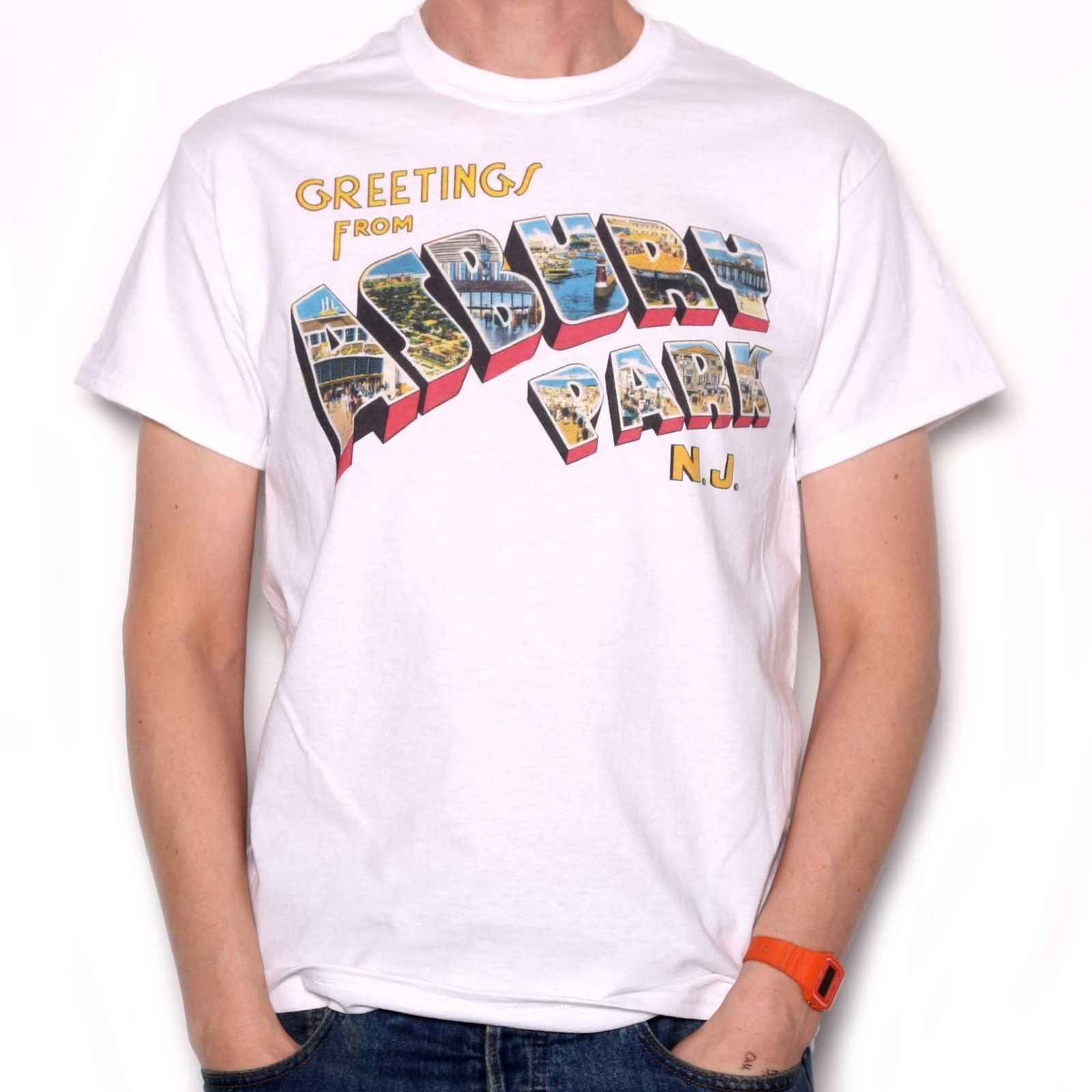 Greetings From Asbury Park T Shirt - Full Colour As Used by Springsteen custom printed tshirt,hip hop funny tee,2019 hot tees