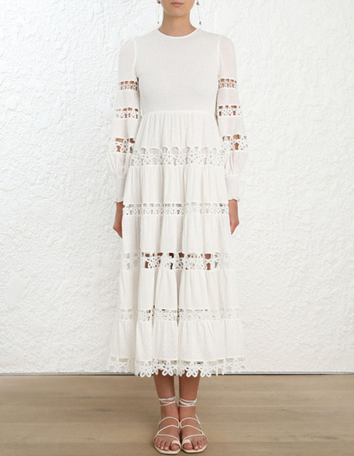 af6656215a02 2019 New Spring White Long Sleeve Midi Dress Embroidery Hollow Out Sexy Long  Dress