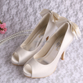 Top Quality Elegant Designer Female Wedding Shoes for Womens Heel White with Back Bows