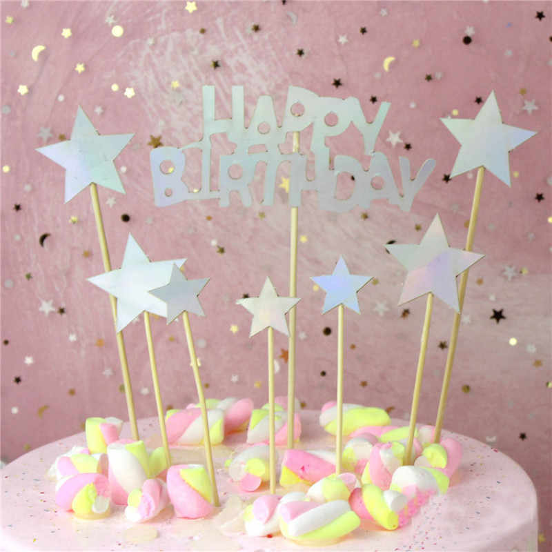 Chicinlife 1Set Sparkling Happy Birthday Star Cupcake Topper Kids Party Cake Baking Decor Baby Shower