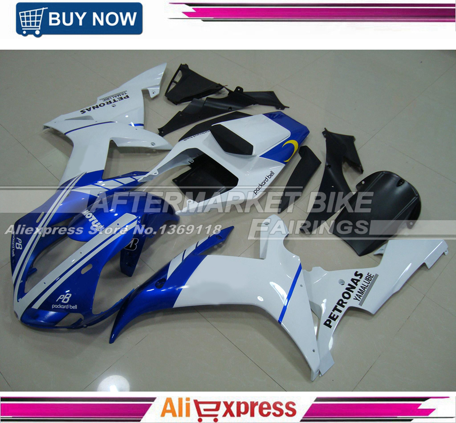 For Yamaha Rossi VR46 Blue & White Design ABS Plastic R1 2002 2003 Fairings Set With Free Rear Cowl yamaha mcr b043 blue