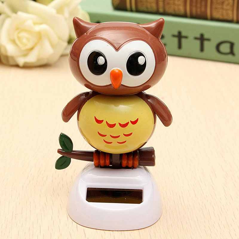 Solar Powered Owl Dancing Flip Flap Swinging Shook His Head For Car Decoration Lovely Dancing Owl Solar Powered Energy Toys