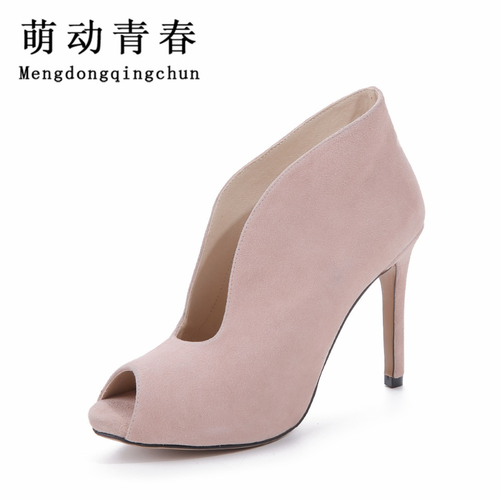 2016 Women Pumps Peep Toe Shoes Woman Thin Heel High Heels Fashion Ladies Genuine Leather Shoes Zapatos Mujer Plus Size