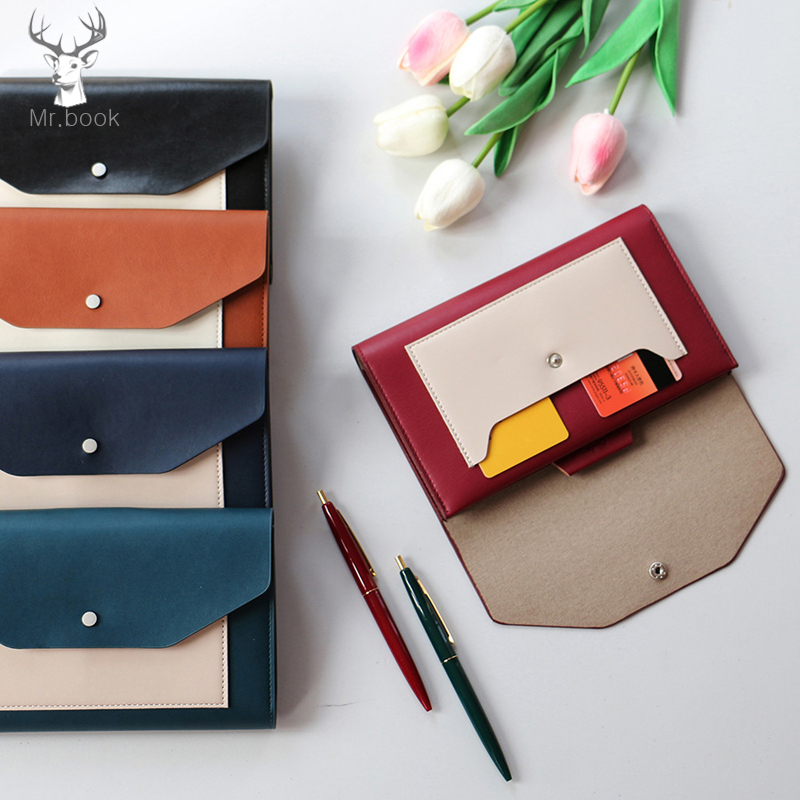 Portable Business Notebook Cover Organizer with 4pcs Notebooks PU Leather Storage Bag for Pens Notebook Passport Mobile Phone