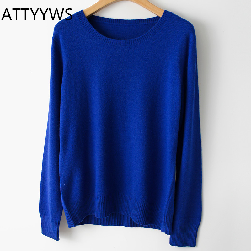 19 Spring Winter O-neck Cashmere Wool Sweater Autumn Women Solid Big Long Sleeve Pullovers Jumper Knitted Sweaters Fashion Wild