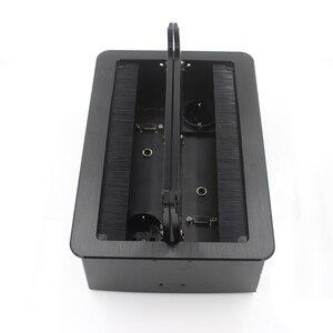 Image 5 - Настольная розетка JOHO, алюминиевая черная/серебристая Панель европейского стандарта, открытый тип, настольная электрическая розетка с аудиоразъемом VGA HDMI