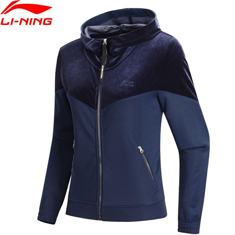 Li Ning Women The Trend Hoodie Sweaters Zip Regular Fit Velvet Patchwork Comfort Jacket LiNing Sports