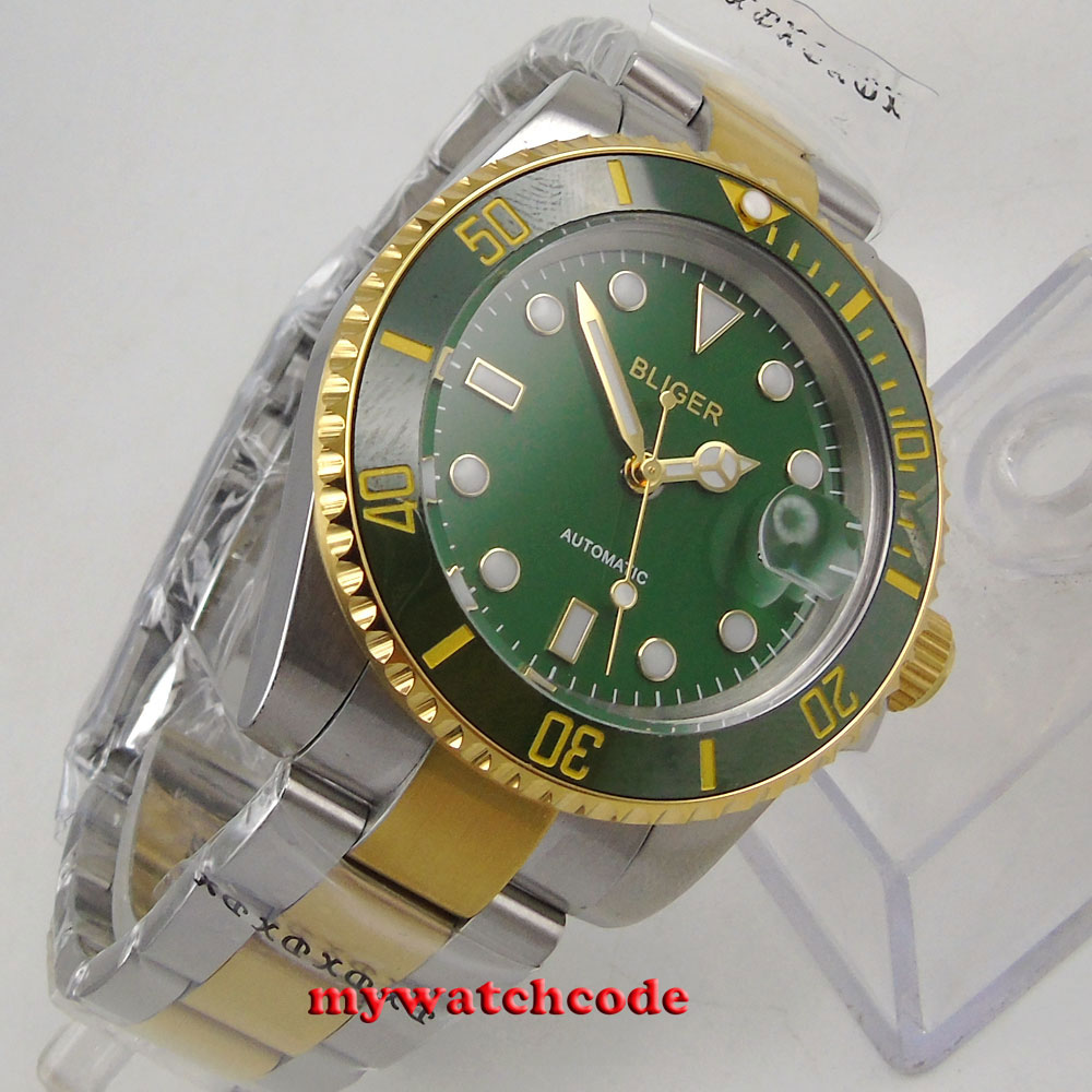 лучшая цена 40mm Bliger green dial ceramic bezel date automatic movement mens watch B285