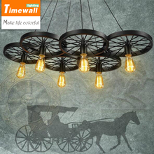 Nordic style retro industrial wind chandelier American rustic antique exhibition hall iron wheels