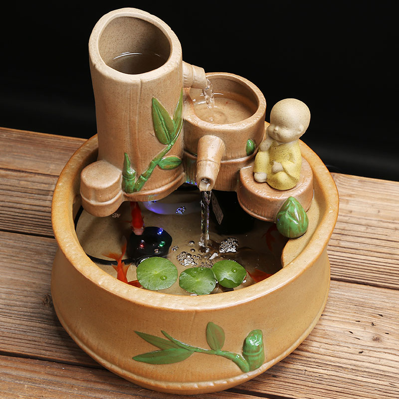 Ceramic Mini Aquarium Fish Tank with Water Pump Traditional Chinese Bamboo Lotus Fish Stone Bowl Flower Pot Office Home Decor