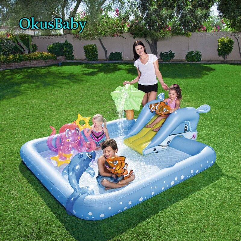 Children Outdoor Summer Garden Fun Lawn Water Slides Sprinkler Pools Marine Animal Spray Water Park Dolphin  For Baby Swimming