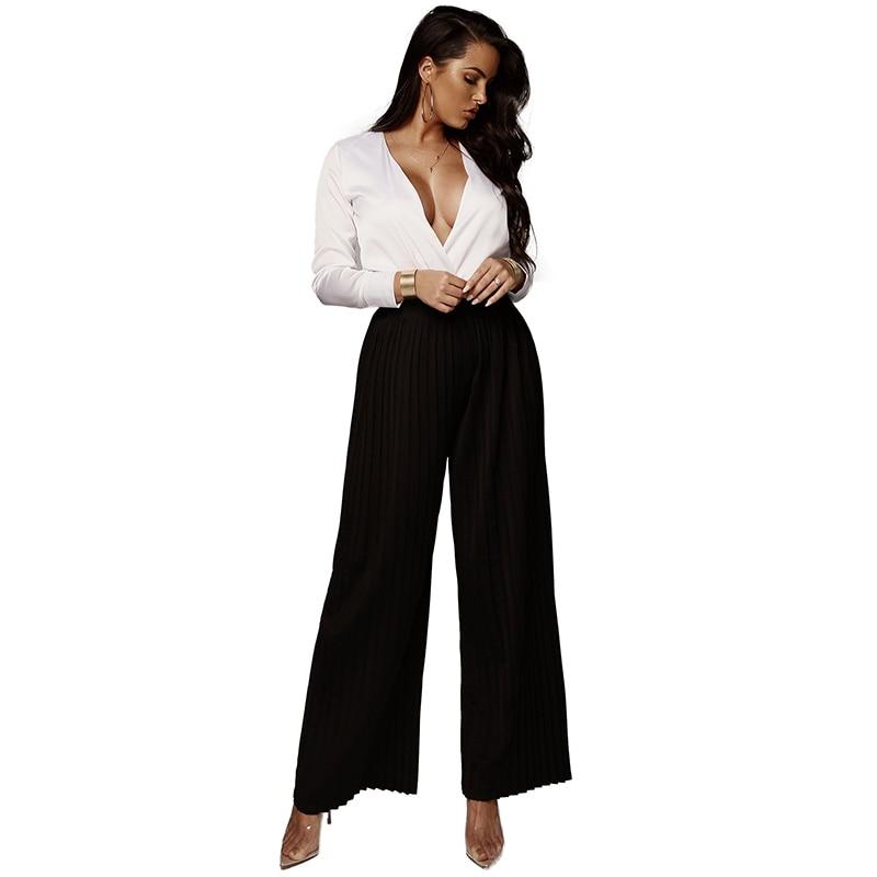 Fashion Women   Wide     Leg     Pants   High Elastic Waist Pantalon Femme Solid Color Pleated Loose Elegant Autumn Ladies Trousers 2019
