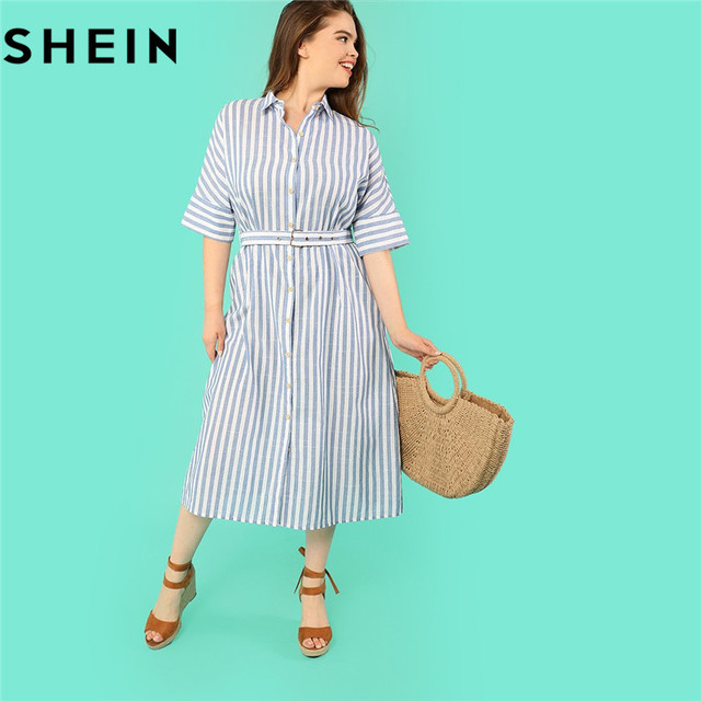 Shein Cotton Blue Stripe Batwing Sleeve Straight Plus Size Belted