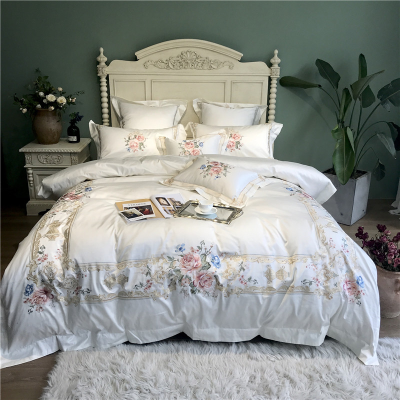New White Blue Pink Luxury Flowers Embroidery 100S Egyptian Cotton Palace Bedding Set Duvet Cover Bed Sheet/Linen Pillowcases