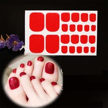 22tips/sheet Waterproof Toe Nail Stickers Full Cover Foot Decals Wraps Adhesive DIY Salon Manicure D25
