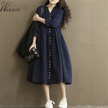 Cotton Linen White Color Women Dress 2016 Spring New Long Sleeve Stand Neck Loose Plus Size Bat Sleeve Irregular Dress 0 ss061