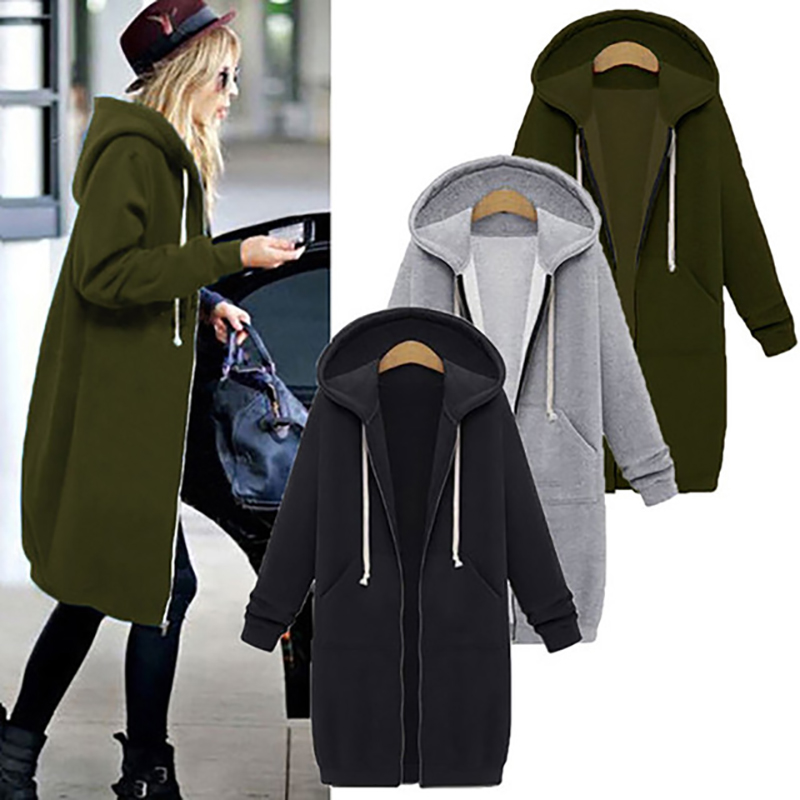 Autumn Winter Hoodie Sweatshirt Women 2019 Casual Solid Loose Zipper Plus Size Thick Hoodie Jackets Long Black Coat Feminino 5XL