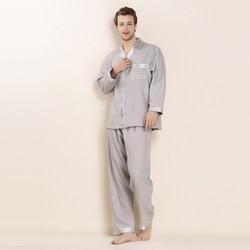 CEARPION, Мужская домашняя одежда с длинным рукавом, одноцветная, 100% шелк, пижама, костюм, 3 цвета, на каждый день, 2 шт, рубашка и штаны, мужская пов...