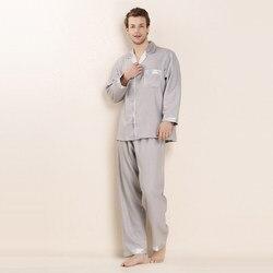 CEARPION Männer Lange Sleeve Home Kleidung Solide 100% Silk Pyjamas Anzug 3 Farben Täglichen 2 stücke Hemd & hose Männlichen casual Weichen Nachtwäsche