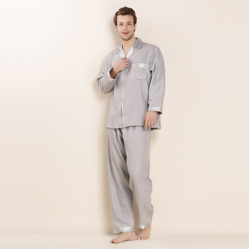CEARPION Men Long Sleeve Home Clothes Solid 100% Silk Pajamas Suit 3 Colors Daily 2pcs Shirt&pant Male Casual Soft Sleepwear