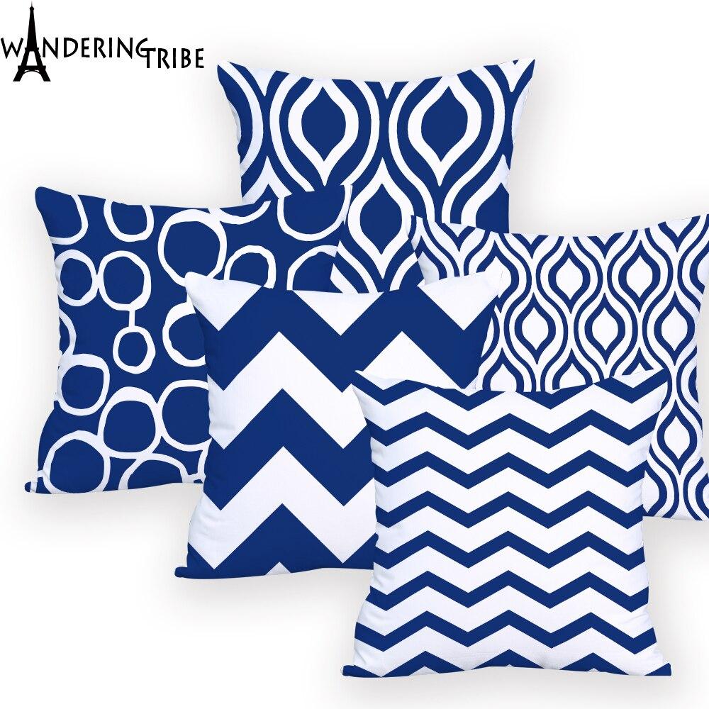 Comprar Fundas De Cojines Online.Comprar Geometrico Azul Funda De Cojin 45 45 Almohadas